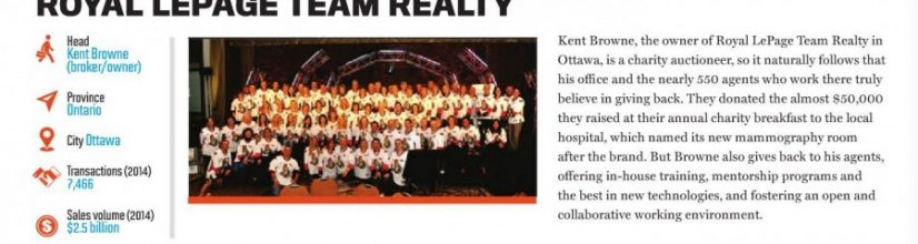 Royal LePage Team Realty named one of the TOP 60 Real Estate Brokerages in Canada